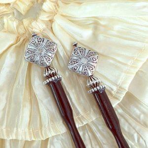 Set Pair of Wooden Beaded Hair Bun Sticks